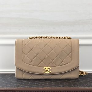 Chanel Large Beige Claire Diana Vintage Flap Bag